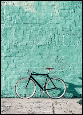 Mint Wall Bike Poster
