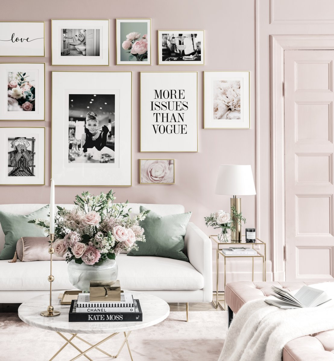 Fashionable gallery wall bestselling posters pink interior golden frames